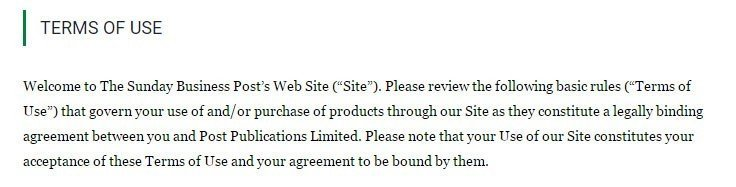 Browsewrap Terms of Use agreement from Sunday Business Post