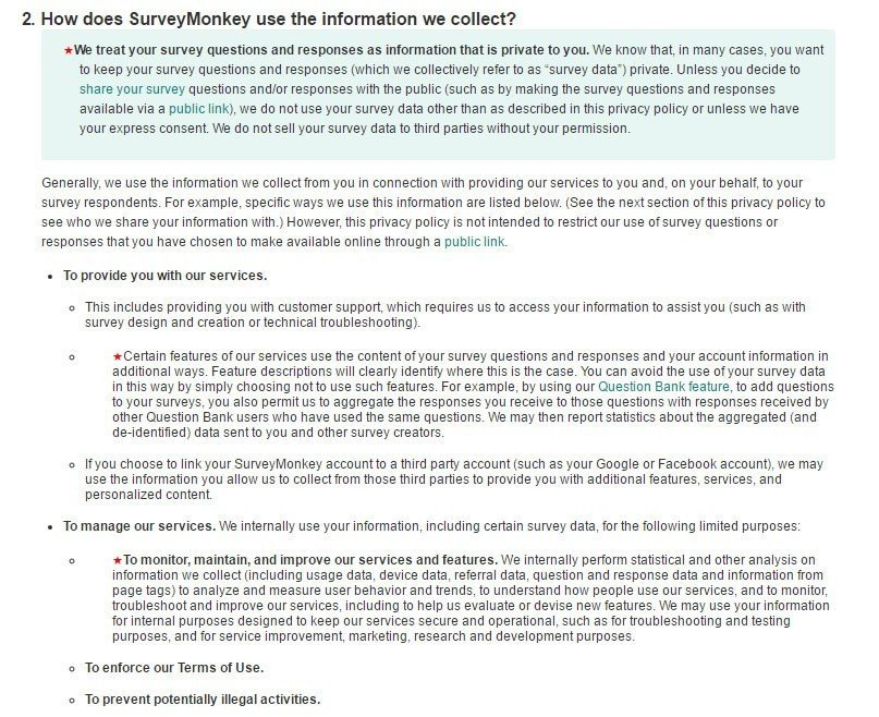 surveymonkey privacy policy how does surveymonkey use the information collected