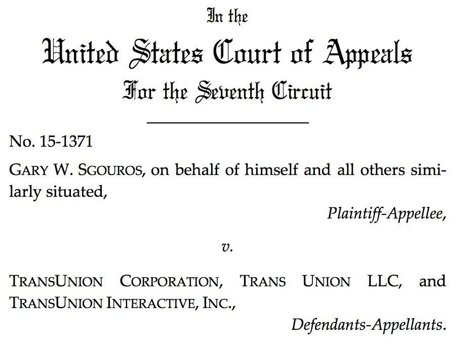 Screenshot from Sgouros v. TransUnion from United States Court of Appeals