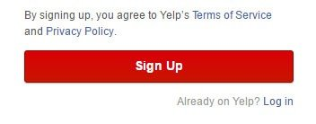 Yelp version of clickwrap: Sign-up for account and agree to Terms of Service, Privacy Policy