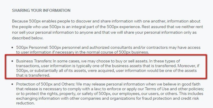 500px Privacy policy: Highlight the Business Transfers clause
