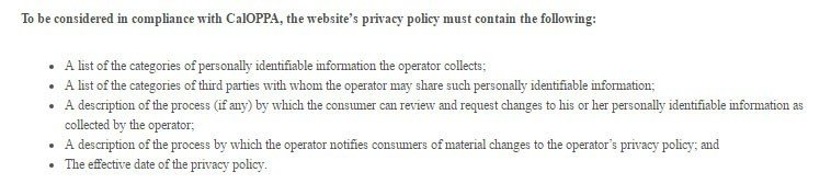 CalOPPA Requirements: The Privacy Policy must contain