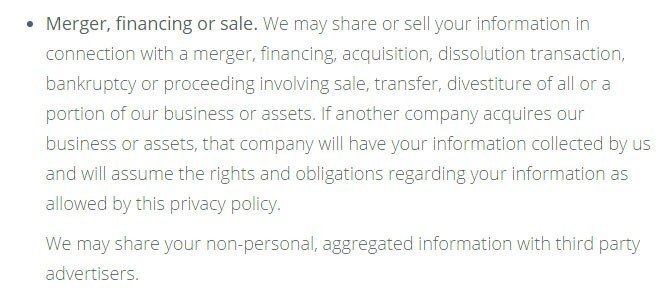 Kik Privacy Policy: Merger, financing or sale clause