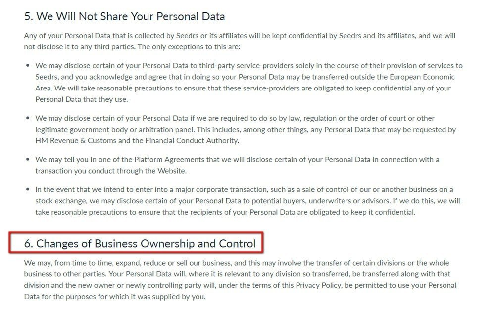 Seedrs Privacy Policy: Highlight the Changes of Business Ownership clause