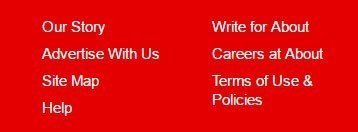 About website footer: Links to Terms of Use and Privacy Policy