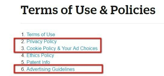 About Terms of Use and Policies: Table of Contents section