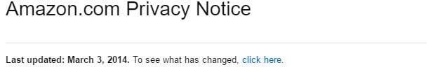 Amazon.com Privacy Notice: Last update date