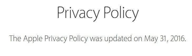 Apple Privacy Policy: Was updated date