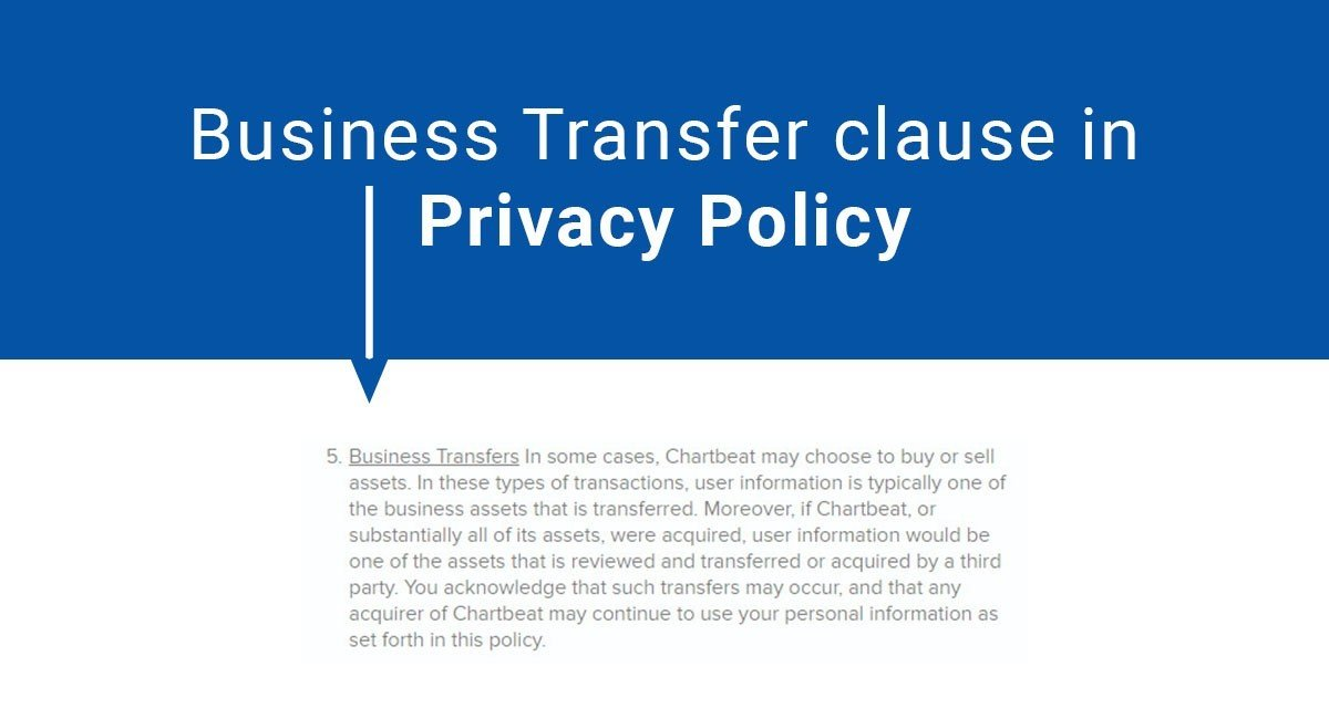 Business Transfer Clause in Privacy Policy