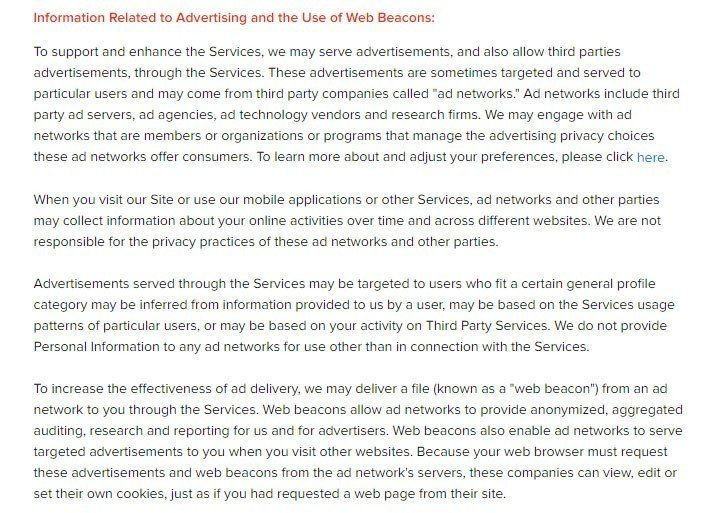BuzzFeed Privacy Policy: Information about Advertising and Web Beacons