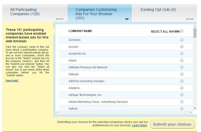 Network Advertising Initiative Opt Out Page