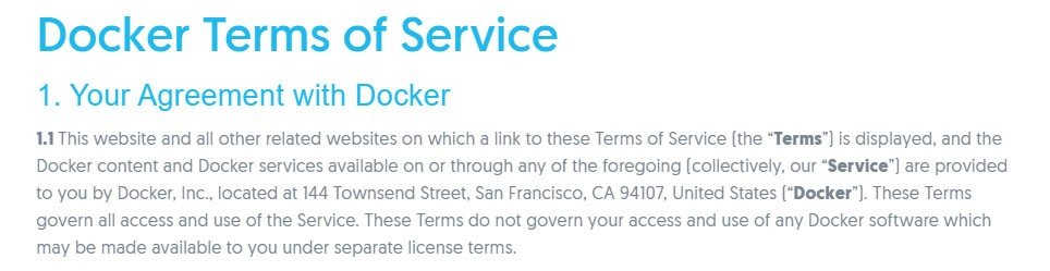 Docker Terms of Service page