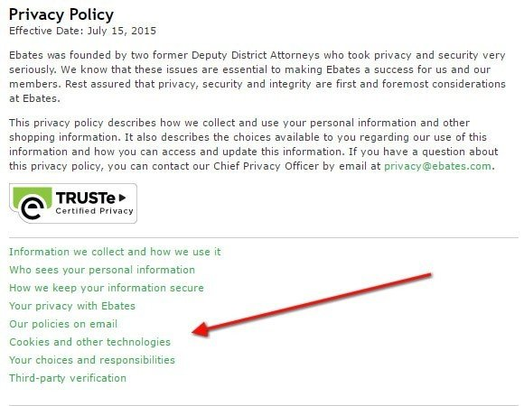 The Topics Menu of Ebates Privacy Policy