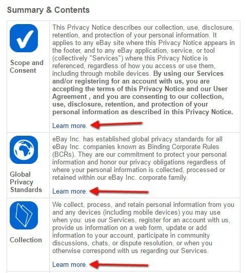 eBay Privacy Policy: The Summary and Contents section