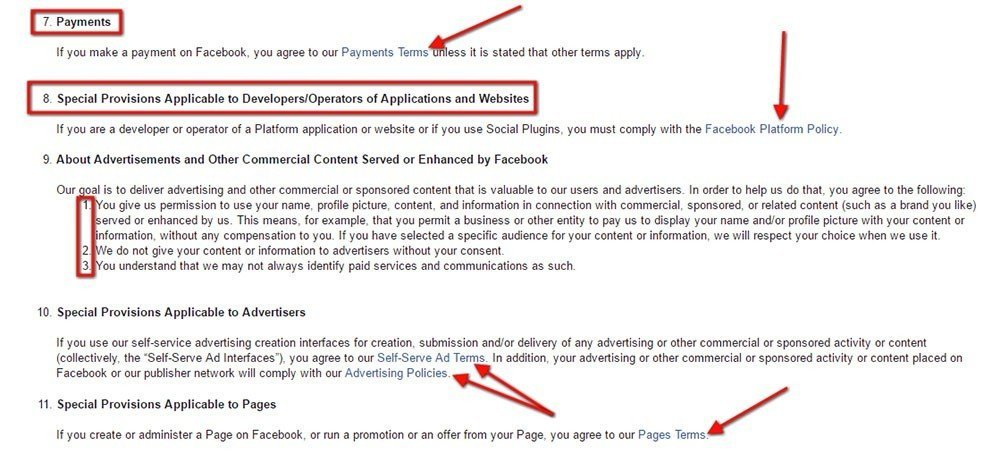 Facebook Terms of Service: Highlight sections such as Payments or Special Provisions