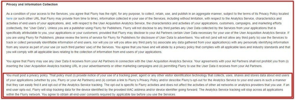 Flurry Terms of Service: the Privacy and Information Collection requirements
