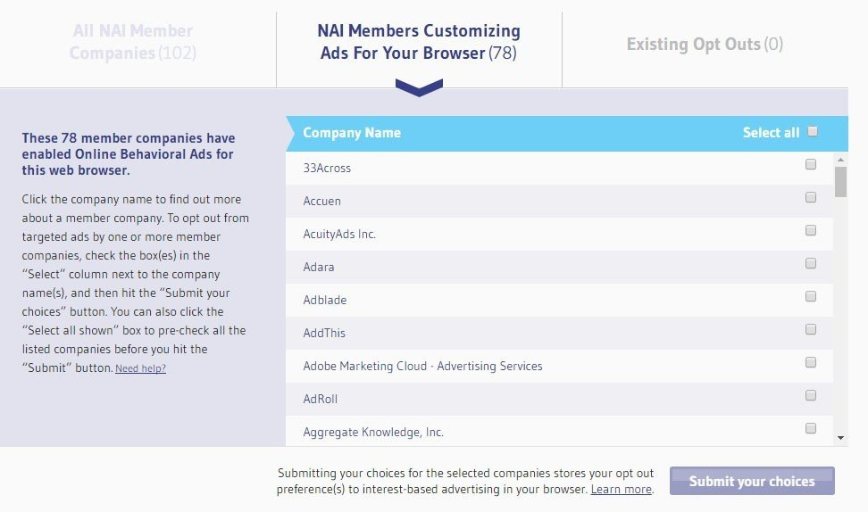 Screenshot of NAI Opt-out page