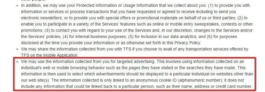 OLA Cabs Privacy Policy: Use of information collected for targeted advertising