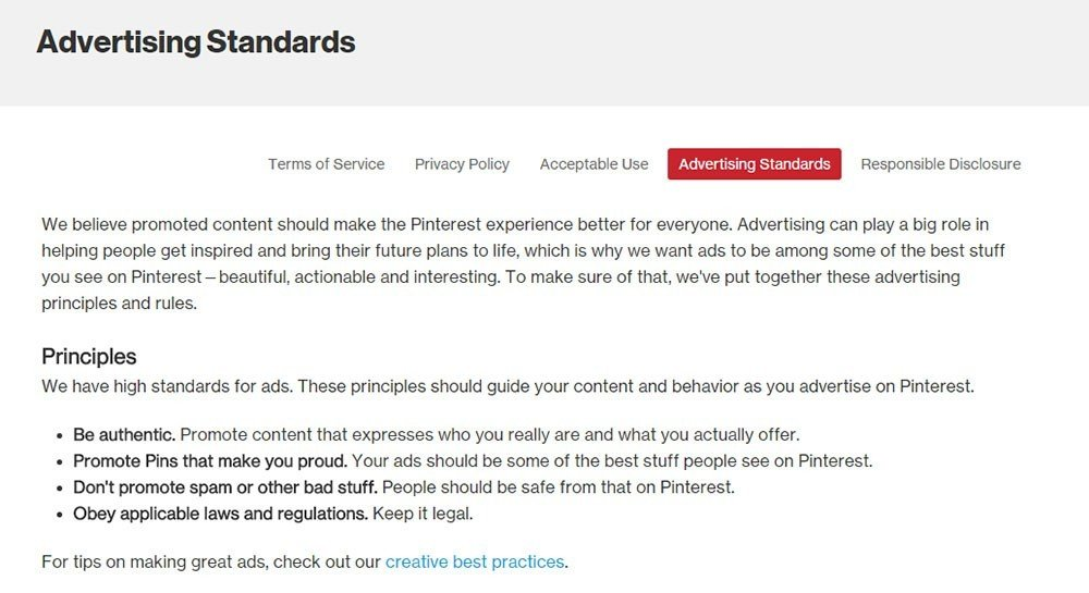 privacy policy for pinterest advertising