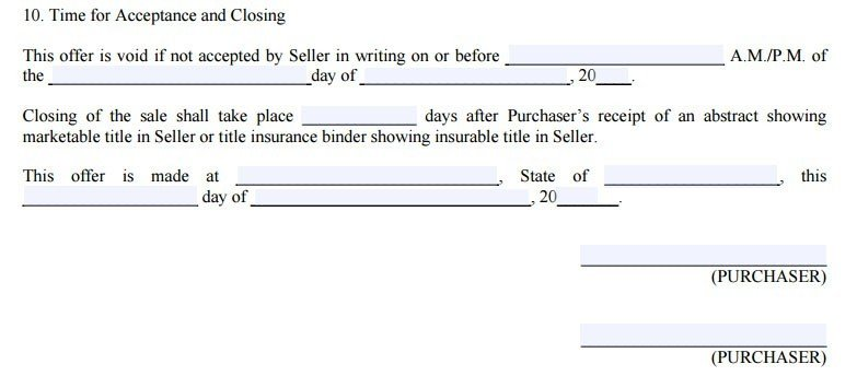 Real estate form: date offer included along with a deadline for the seller to reject or accept