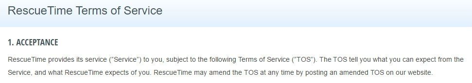 RescueTime Terms of Service: No effective date shown