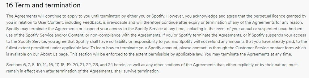 Spotify Terms and Conditions of Use: Term and Termination