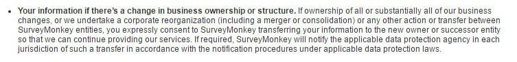 SurveyMonkey Business Transfer clause with explanation of legal notice procedures