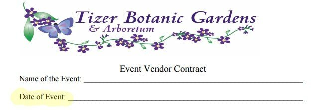 Tizer Botanic Gardens showing the date of the event and assumed effective date