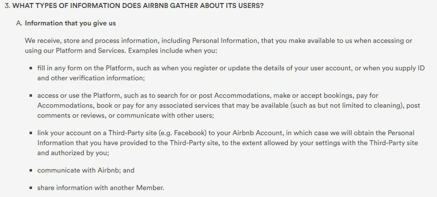 Airbnb Privacy Policy: Types of information gathered from users