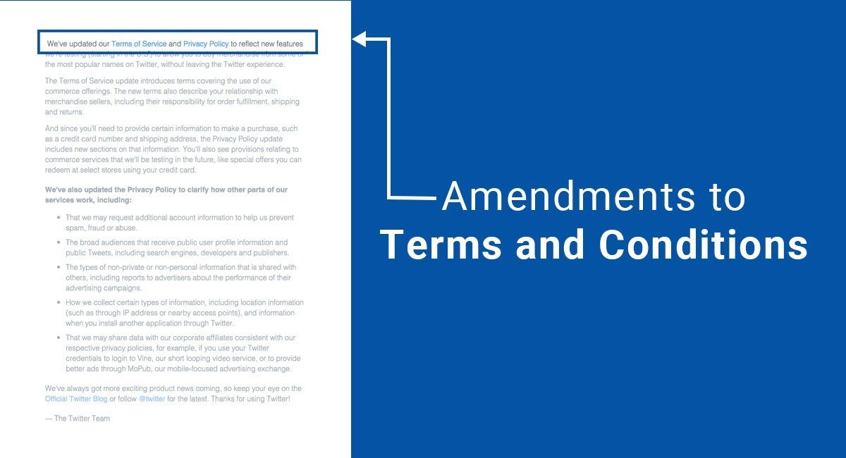 Amendments to Terms and Conditions - TermsFeed