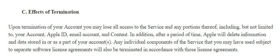 Termination clause in Apple iCloud Terms and Conditions