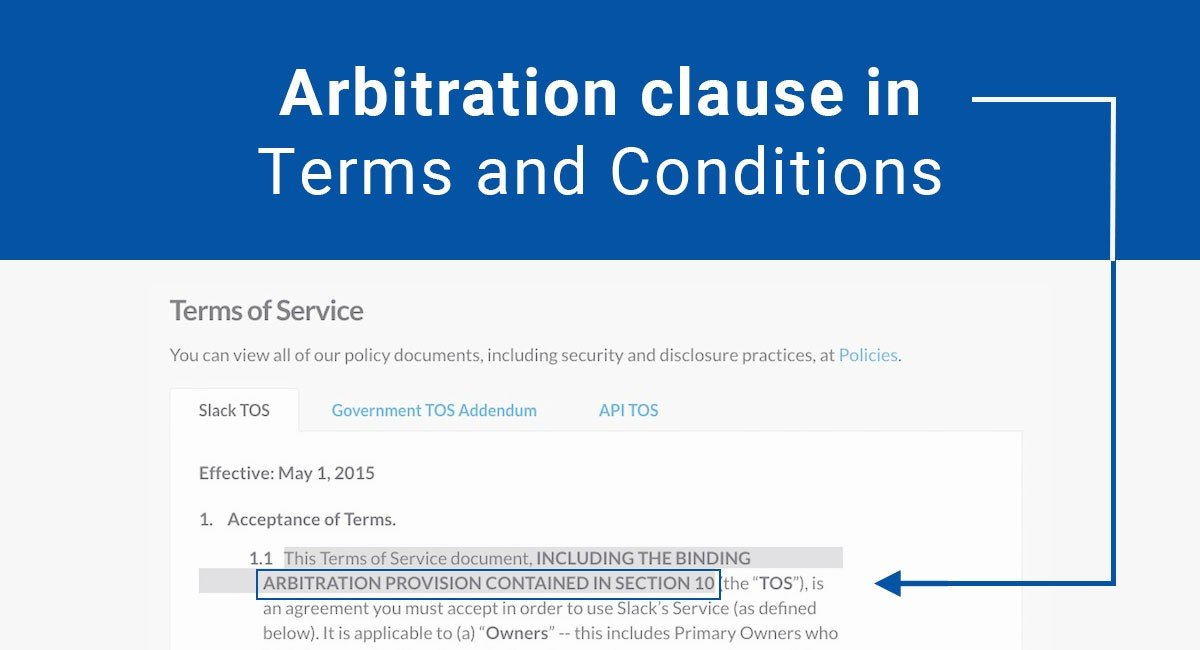 Image for: Arbitration clause in Terms and Conditions