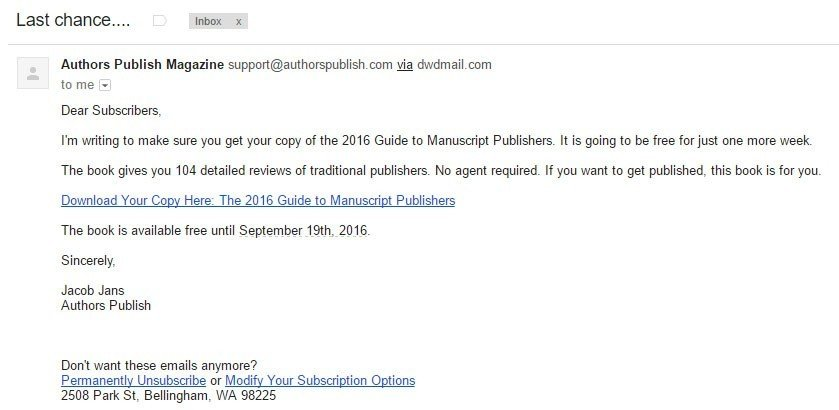 Authors Publish email is commercial email under CAN-SPAM