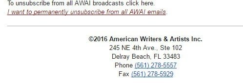 AWAI email footer: Company information