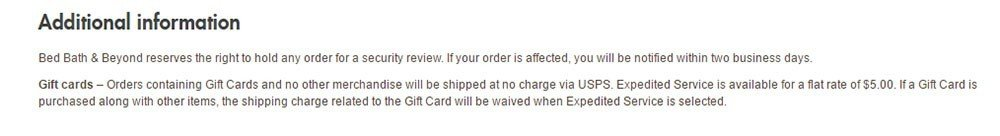 Bed Bath Beyond Shipping Policy: Additional Information