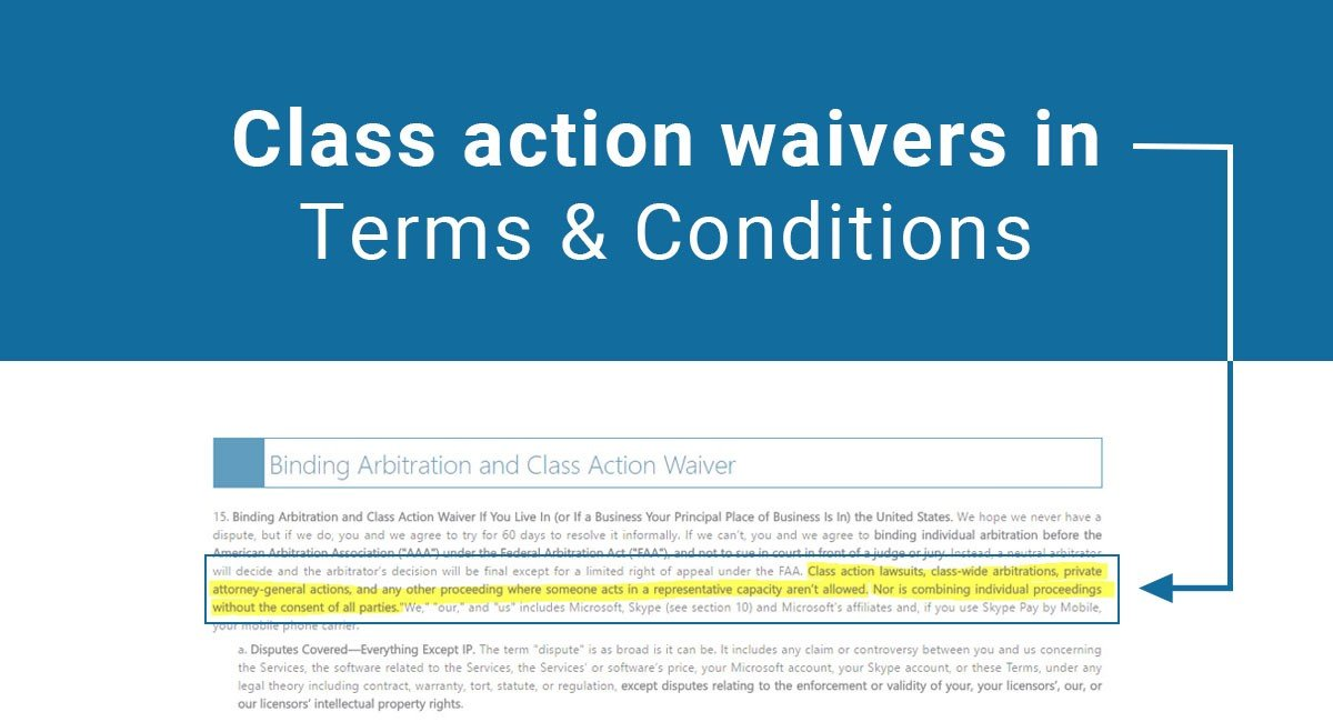 class action waivers in terms conditions termsfeed
