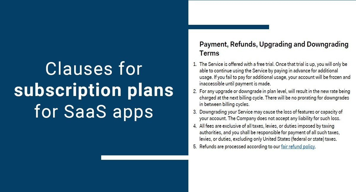 Clauses for subscription plans for SaaS apps