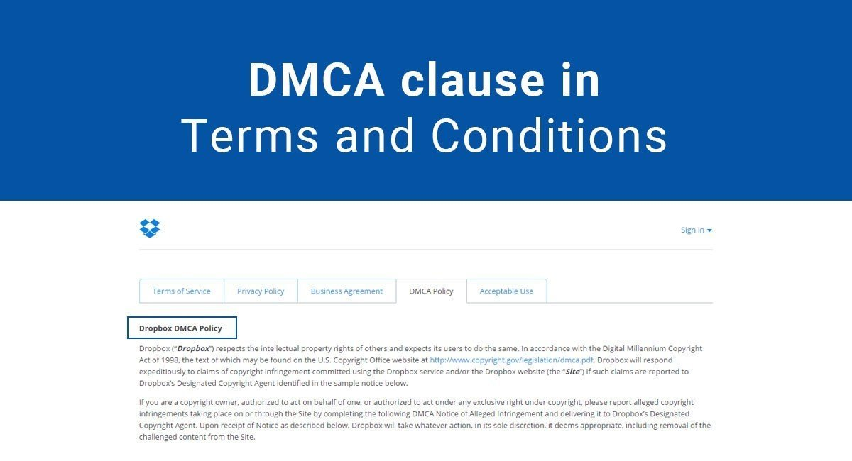 DMCA clause in Terms and Conditions
