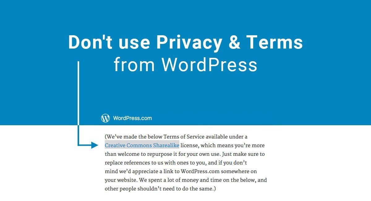 Image for: Don't Use Privacy & Terms from WordPress