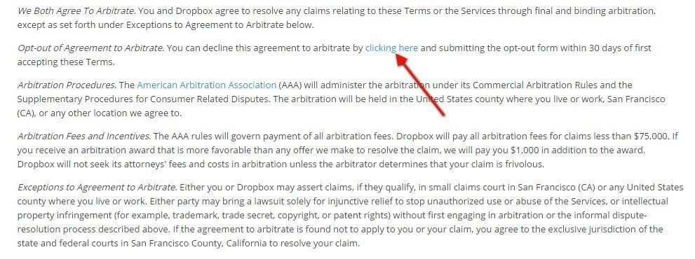Dropbox Terms of Service: Highlight arbitration clause