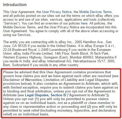 eBay User Agreement: Highlight arbitration clause