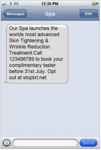Example of marketing SMS with opt-out option