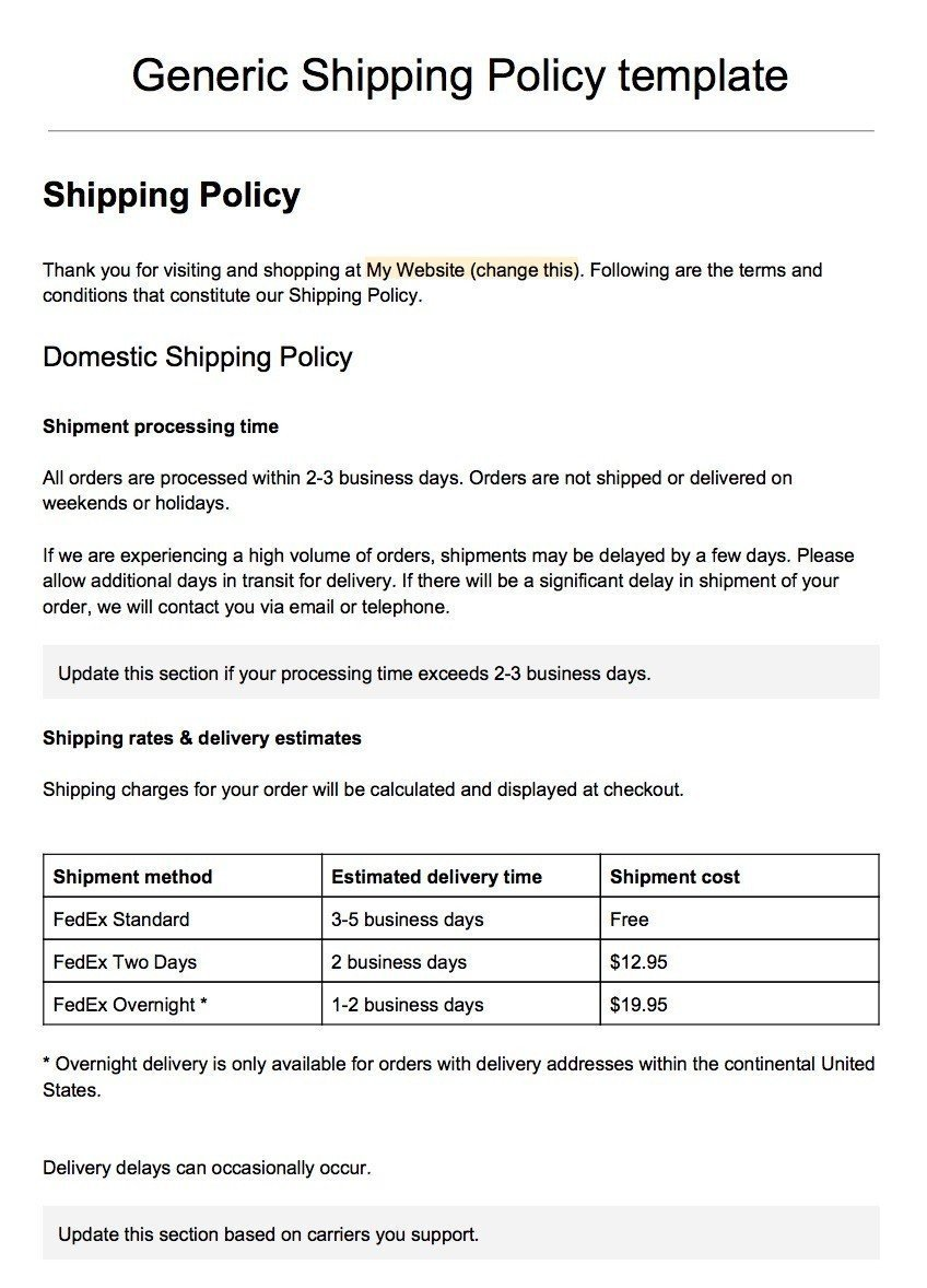 screenshot of the generic shipping policy template