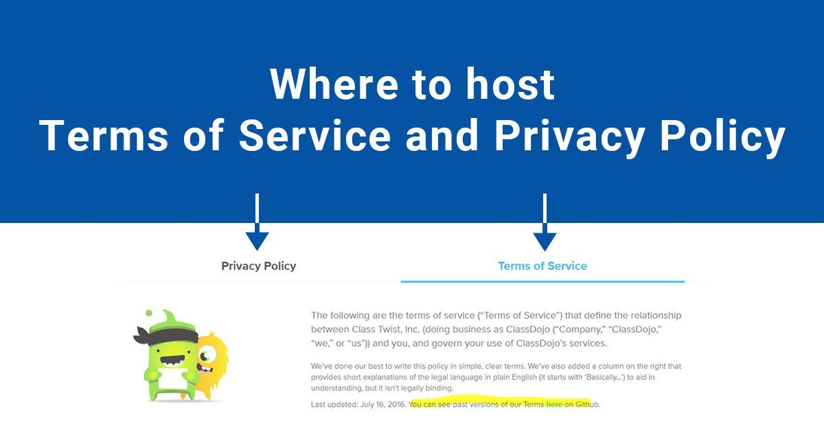 terms of service privacy policy where to host terms of service privacy