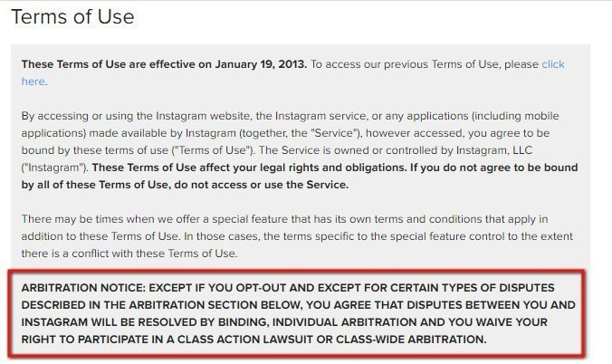 Arbitration Notice in Instagram Terms of Use