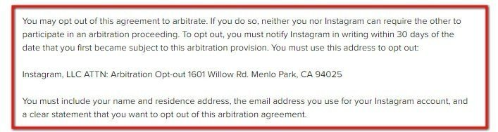Instagram Terms of Use: How to opt-out from arbitration