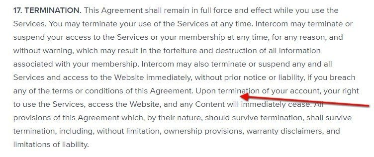 Termination clause in Intercom Terms of Service