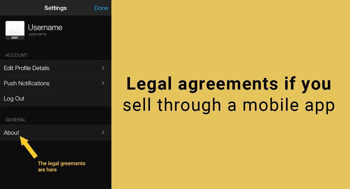 Legal agreements if you sell through a mobile app