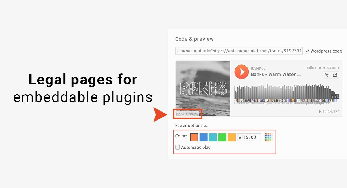 Legal pages for embeddable plugins