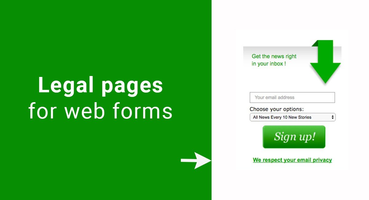 Legal pages for web forms
